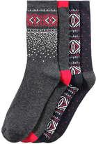 Joe Fresh Women's 4 Pack Fair Isle Print Socks, Charcoal (Size 9-11)