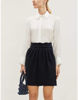 Claudie Pierlot Sylviah scallop-edge woven mini skirt