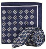 Burton Mens Navy Diamond Tie and Pocket Square Set