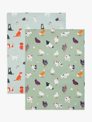 John Lewis & Partners Farm Animals Tea Towels, Pack of 2, Blue/Multi