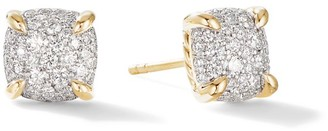 David Yurman Chatelaine Stud Earrings in 18K Yellow Gold with Full Pave Diamonds