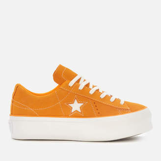 Converse One Star Platform Ox Trainers - Field Orange/White - UK 8