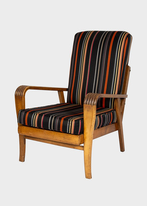 Paul Smith French Art Deco Oak Armchair Upholstered in Fabric, 1930s
