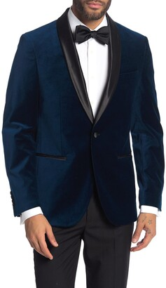 Savile Row Co Navy Shawl Collar Single Button Velvet Suit Separate Sport Coat