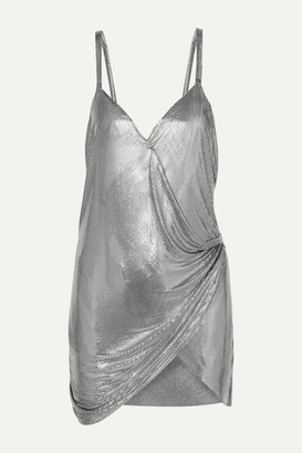 Fannie Schiavoni Iza Chainmail Wrap Mini Dress - Silver