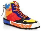 Moschino Multi-Colored Leather High-Top Sneakers