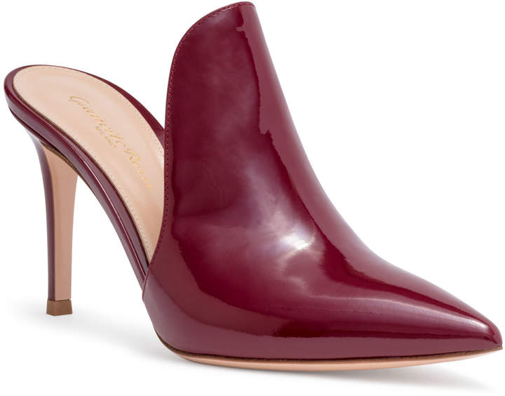Gianvito Rossi Aramis 85 Burgundy Patent Leather Mules