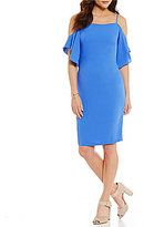 Laundry by Shelli Segal Cold-Shoulder Flounce-Sleeve Dress