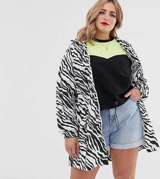 Brave Soul Plus rain mac in zebra print with hood