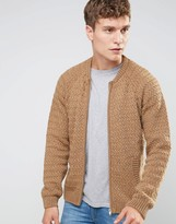 Asos Knitted Bomber Jacket In Camel
