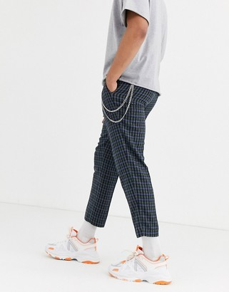 ASOS DESIGN slim crop smart trousers with chain in wool mix in blue