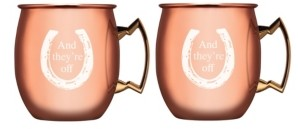 """Thirstystone by Cambridge """"And Theyr'e Off"""" Copper Moscow Mule Mugs - Set of 2"""