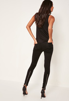 Missguided Black Highwaisted Ankle Zip Skinny Jeans