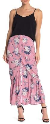 Love, Fire Floral Ruffle Maxi Skirt