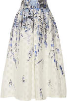 Lela Rose Fil Coupé Jacquard Midi Skirt - White