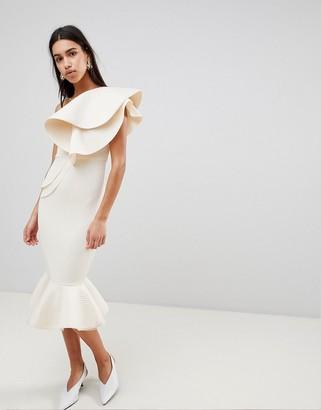 Asos Design PREMIUM quilted pephem bodycon midi dress-Cream