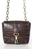 CC Skye Dark Brown Leather Gold Tone Fold Over Crossbody Handbag In Dustbag