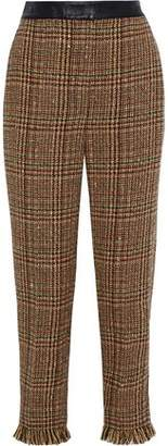 Sonia Rykiel Cropped Leather-trimmed Wool-blend Tweed Straight-leg Pants