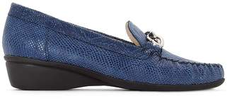 Anne Weyburn Snake Print Leather Wedge Loafers