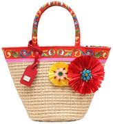 Dolce & Gabbana Straw & Cotton Canvas Bag