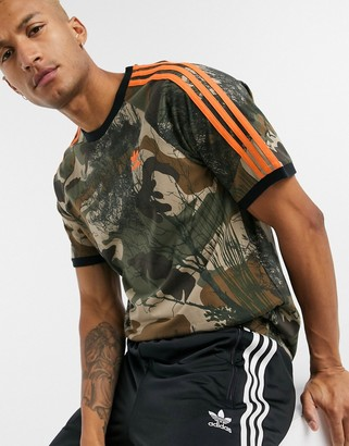 adidas 3 stripe t-shirt with all over camo print