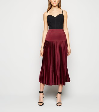 New Look Cameo Rose Satin Pleated Midi Skirt
