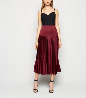 New Look Cameo Rose Satin Pleated Midi Skirt
