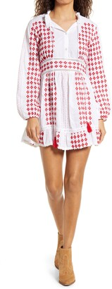 Area Stars Tia Embroidered Long Sleeve Minidress