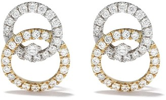 Kiki McDonough 18kt white and yellow gold Diamond Studs interlinking earrings