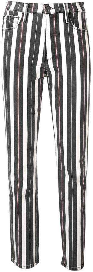 striped slim-fit jeans
