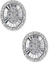 Macy's Diamond Oval Miracle Plate Cluster Stud Earrings (1/3 ct. t.w.) in 14k White Gold