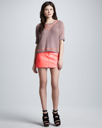 Milly Lamb Leather Miniskirt, Coral
