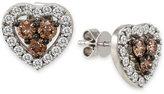 LeVian Le Vian Chocolatier Diamond Heart Stud Earrings (1-3/8 ct. t.w) in 14k White Gold