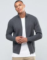 Jack and Jones Ribbed Funnel Neck Zipped Cardigan