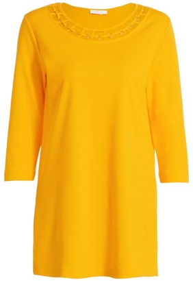 Joan Vass Petite Cutout Cotton Tunic