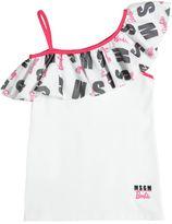 MSGM Barbie Mesh & Lycra Tank Top W/ Ruffle