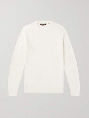 Loro Piana Striped Cotton and Silk-Blend Sweater - Men - White