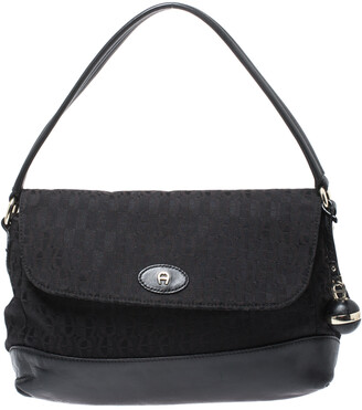 Aigner Black Canvas and Leather Flap Satchel