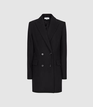 Reiss Dana - Double Breasted Short Wool Coat in Navy