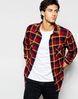 Quiksilver Shirt With Cotton Flannel Check - Blue