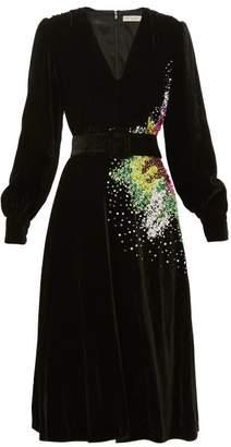 Mary Katrantzou Theresa Sequin-embellished Velvet Midi Dress - Womens - Black Multi