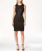 Calvin Klein Gold Square Dot Sleeveless Petite Sheath Dress