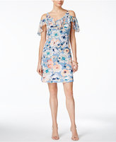 MSK Floral-Print Cold-Shoulder Dress