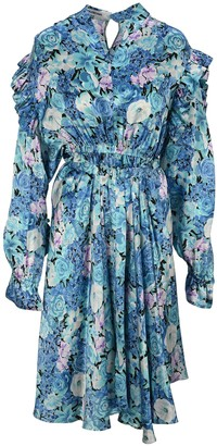 Balenciaga Floral Belted Ruffled Dress