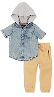 7 For All Mankind Boys' Hooded Denim Shirt & Twill Pants Set - Baby
