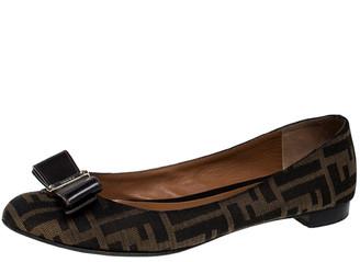 Fendi Brown Zucca Canvas Bow Detail Ballet Flats Size 39