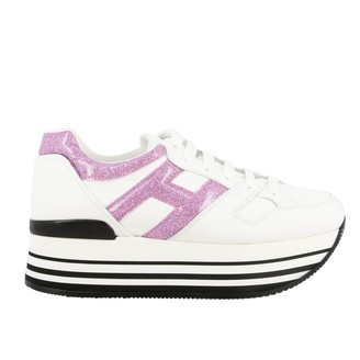 Hogan 283 Platform Sneakers In Leather With Big Glitter H