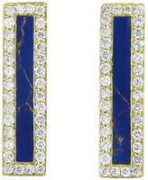 Jennifer Meyer Diamond Lapis Inlay Long Bar Stud Earrings - Yellow Gold