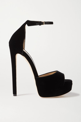Jimmy Choo Max 150 Velvet Platform Sandals - Black