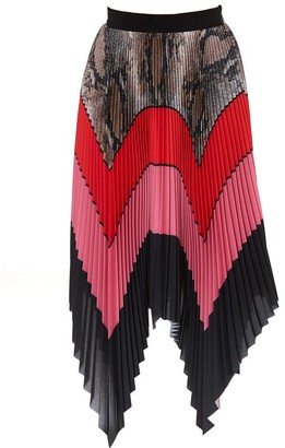 MSGM Colour Block Pleated Skirt
